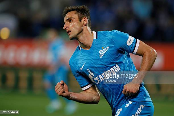 Mauricio of FC Zenit St Petersburg celebrates his goal during the Russian Football League match between FC Zenit St Petersburg and FC Spartak Moscow...