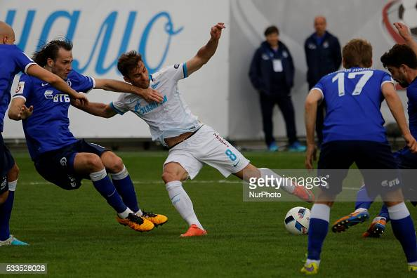 Mauricio of FC Zenit St Petersburg in action against several FC Dynamo Moscow players during the Russian Football Premier League match between FC...