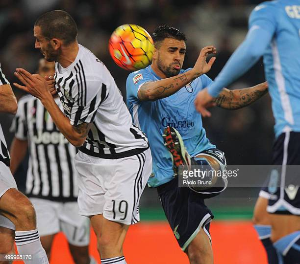 Mauricio of SS Lazio competes for the ball with Leonardo Bonucci of Juventus FC during the Serie A match between SS Lazio and Juventus FC at Stadio...
