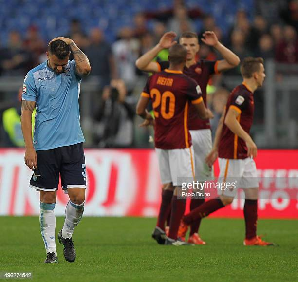 Mauricio of SS Lazio reacts after the Serie A match between AS Roma and SS Lazio at Stadio Olimpico on November 8 2015 in Rome Italy