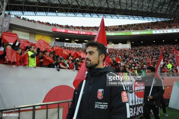 Mauricio of Urawa Red Diamonds applauds supporters after the JLeague J1 match between Urawa Red Diamonds and Yokohama FMarinos at Saitama Stadium on...