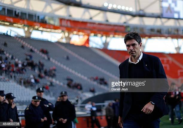 Mauricio Pellegrino coach of Estudiantes before a match between Estudiantes and Belgrano as part of sixth round of Torneo de Transicion 2014 at...