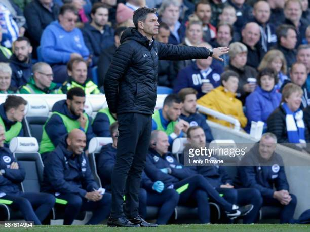 Mauricio Pellegrino Manager of Southampton gives his team instructions during the Premier League match between Brighton and Hove Albion and...