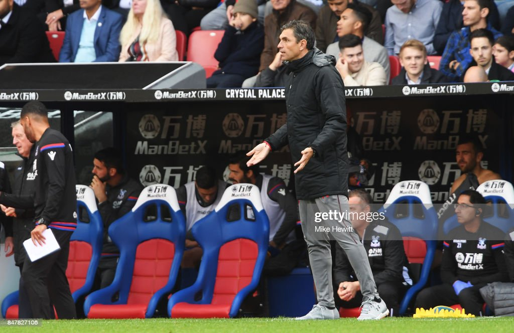 Mauricio Pellegrino, Manager of Southampton reacts during the Premier League match between Crystal Palace and Southampton at Selhurst Park on September 16, 2017 in London, England.