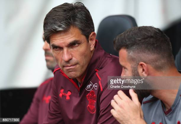 Mauricio Pellegrino Manager of Southamton looks on prior to the Premier League match between Southampton and Swansea City at St Mary's Stadium on...