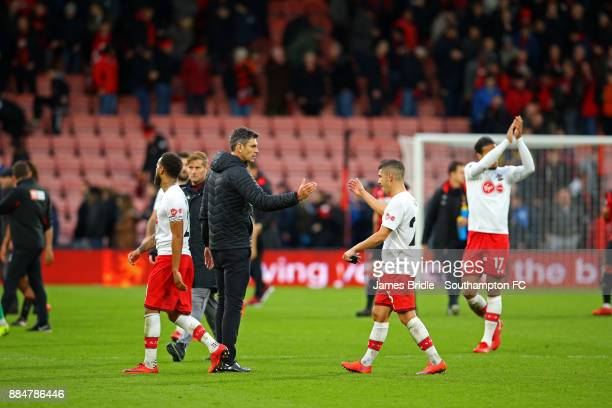 Mauricio Pellegrino of Southampton FC shakes hands with Jérémy Pied during the Premier League match between AFC Bournemouth and Southampton at...