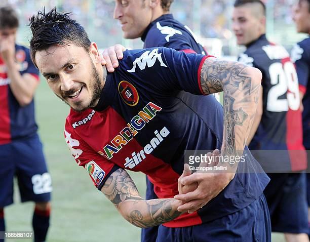 Mauricio Pinilla of Cagliari celebrates after scoring their second goal during the Serie A match between Cagliari Calcio and FC Internazionale Milano...