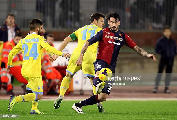 Mauricio Pinilla of Cagliari in action during the Serie A match between Cagliari Calcio and SSC Napoli at Stadio Sant'Elia on December 21 2013 in...