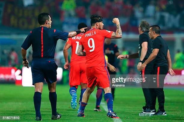 Mauricio Pinilla of Chile celebrates after scoring second goal of his team during a match between Venezuela and Chile as part of FIFA 2018 World Cup...