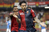 Mauricio Pinilla of Genoa CFC celebrates a goal during the Serie A match between Genoa CFC and SSC Napoli at Stadio Luigi Ferraris on August 31 2014...