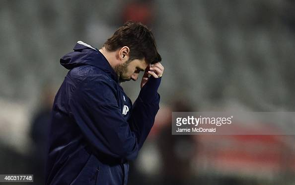 Mauricio Pochettino manager of Spurs looks dejected during the UEFA Europa League Group C match between Besiktas JK and Tottenham Hotspur FC at...