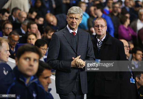 Mauricio Pochettino manager of Tottenham Hotspur and Arsene Wenger manager of Arsenal look on prior to the Capital One Cup third round match between...