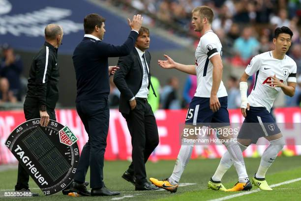 Mauricio Pochettino Manager of Tottenham Hotspur and Eric Dier of Tottenham Hotspur shake hands as he is subbed during the Premier League match...