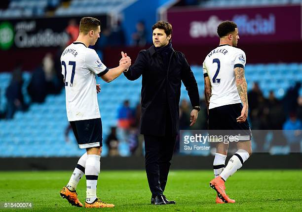 Mauricio Pochettino manager of Tottenham Hotspur and Kevin Wimmer of Tottenham Hotspur shake hands after victory in the Barclays Premier League match...