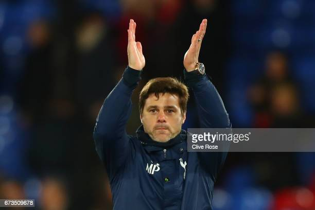 Mauricio Pochettino Manager of Tottenham Hotspur applauds supporters during the Premier League match between Crystal Palace and Tottenham Hotspur at...