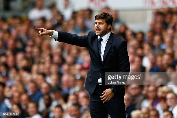 Mauricio Pochettino Manager of Tottenham Hotspur gestures during the Barclays Premier League match between Tottenham Hotspur and Stoke City at White...