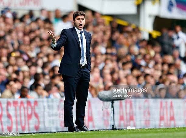 Mauricio Pochettino Manager of Tottenham Hotspur gestures during the Barclays Premier League match between Tottenham Hotspur and Manchester City at...