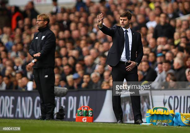 Mauricio Pochettino Manager of Tottenham Hotspur gestures during the Barclays Premier League match between Tottenham Hotspur and Liverpool at White...