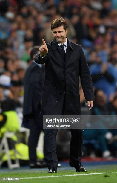 Mauricio Pochettino Manager of Tottenham Hotspur gestures during the UEFA Champions League group H match between Real Madrid and Tottenham Hotspur at...
