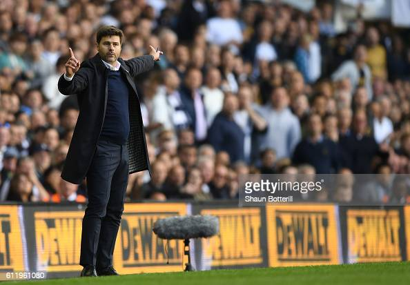 Mauricio Pochettino Manager of Tottenham Hotspur gives his team instructions during the Premier League match between Tottenham Hotspur and Manchester...