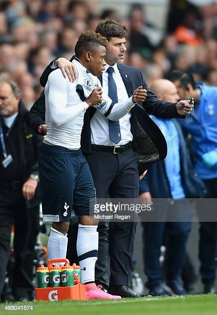Mauricio Pochettino Manager of Tottenham Hotspur instructs Clinton N'Jie during the Barclays Premier League match between Tottenham Hotspur and...