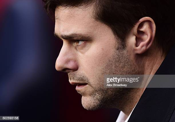 Mauricio Pochettino manager of Tottenham Hotspur looks on before the Barclays Premier League match between Tottenham Hotspur and Norwich City at...