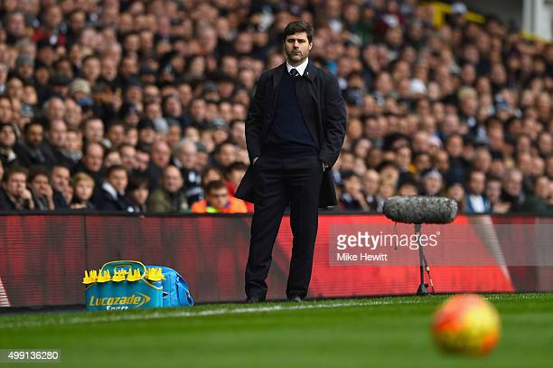 Mauricio Pochettino manager of Tottenham Hotspur looks on during the Barclays Premier League match between Tottenham Hotspur and Chelsea at White...