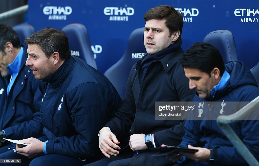 <a gi-track='captionPersonalityLinkClicked' href=/galleries/search?phrase=Mauricio+Pochettino&family=editorial&specificpeople=234444 ng-click='$event.stopPropagation()'>Mauricio Pochettino</a>, Manager of Tottenham Hotspur looks on during the Barclays Premier League match between Manchester City and Tottenham Hotspur at Etihad Stadium on February 14, 2016 in Manchester, England.