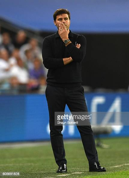 Mauricio Pochettino Manager of Tottenham Hotspur looks on during the UEFA Champions League match between Tottenham Hotspur FC and AS Monaco FC at...