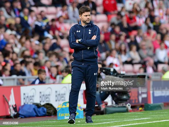 Mauricio Pochettino manager of Tottenham Hotspur looks on from the touchline during the Barclays Premier League match between Sunderland and...