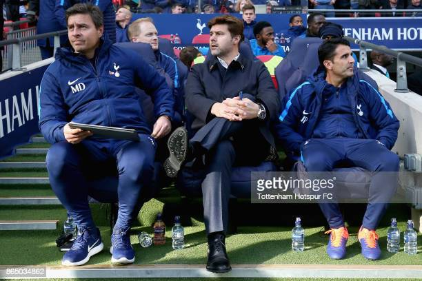 Mauricio Pochettino Manager of Tottenham Hotspur looks on from the bench prior to the Premier League match between Tottenham Hotspur and Liverpool at...