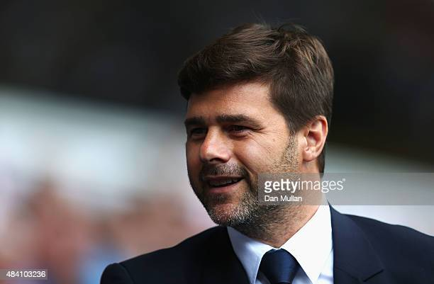 Mauricio Pochettino Manager of Tottenham Hotspur looks on prior to the Barclays Premier League match between Tottenham Hotspur and Stoke City at...