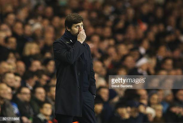 Mauricio Pochettino manager of Tottenham Hotspur looks thoughtful during the Barclays Premier League match between Tottenham Hotspur and Newcastle...