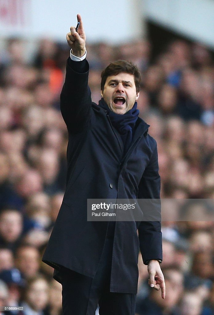 Mauricio Pochettino Manager of Tottenham Hotspur points during the Barclays Premier League match between Tottenham Hotspur and A.F.C. Bournemouth at White Hart Lane on March 20, 2016 in London, United Kingdom.