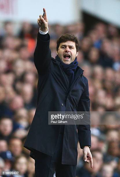Mauricio Pochettino Manager of Tottenham Hotspur points during the Barclays Premier League match between Tottenham Hotspur and AFC Bournemouth at...