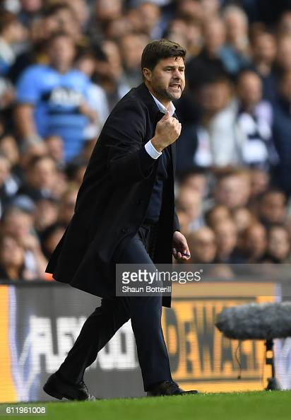 Mauricio Pochettino Manager of Tottenham Hotspur reacts during the Premier League match between Tottenham Hotspur and Manchester City at White Hart...