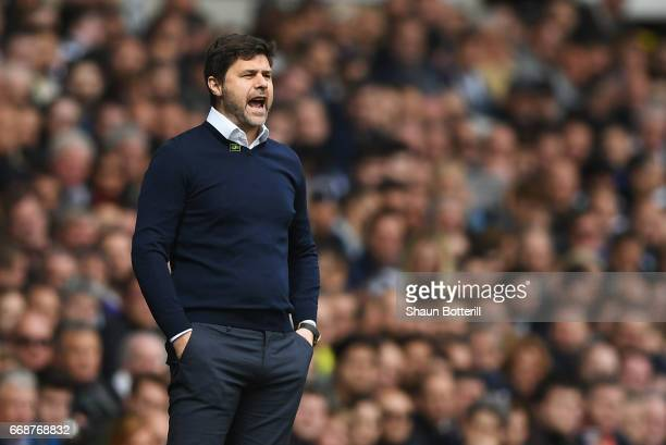 Mauricio Pochettino Manager of Tottenham Hotspur reacts during the Premier League match between Tottenham Hotspur and AFC Bournemouth at White Hart...
