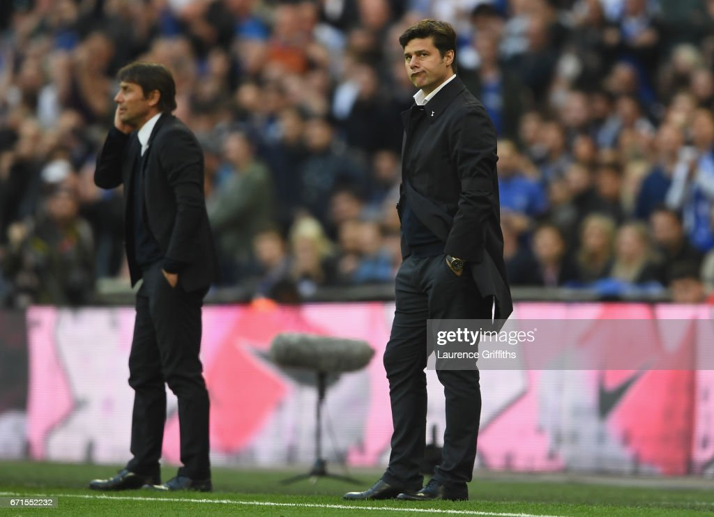 Mauricio Pochettino, Manager of Tottenham Hotspur reacts during The Emirates FA Cup Semi-Final between Chelsea and Tottenham Hotspur at Wembley Stadium on April 22, 2017 in London, England.