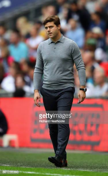 Mauricio Pochettino Manager of Tottenham Hotspur reacts during the Premier League match between Tottenham Hotspur and AFC Bournemouth at Wembley...