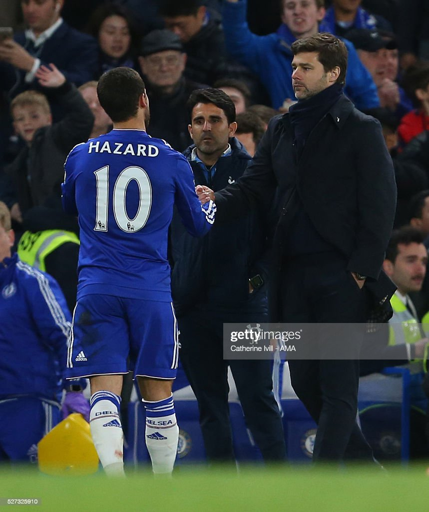 Mauricio Pochettino manager of Tottenham Hotspur shakes hands with goalscorer Eden Hazard of Chelsea after the Barclays Premier League match between Chelsea and Tottenham Hotspur at Stamford Bridge on May 2, 2016 in London, England.