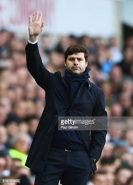 Mauricio Pochettino manager of Tottenham Hotspur signals during the Barclays Premier League match between Tottenham Hotspur and AFC Bournemouth at...
