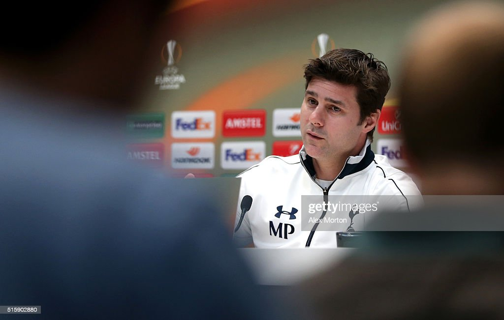 Mauricio Pochettino Manager of Tottenham Hotspur speaks during a press conference ahead of the UEFA Europa League Round of 16, second leg match between Tottenham Hotspur FC and Borussia Dortmund at White Hart Lane on March 16, 2016 in Enfield, England.