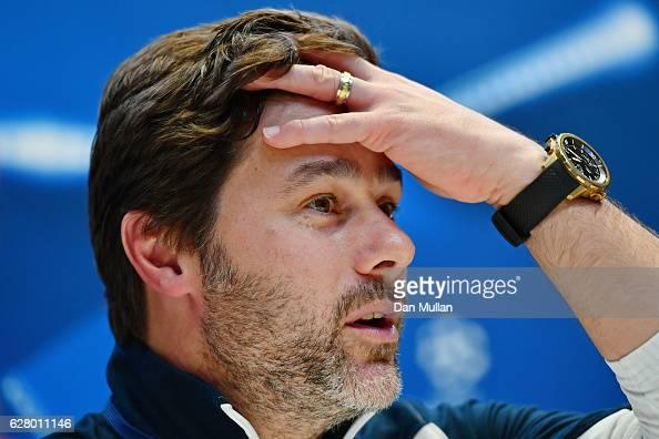 Mauricio Pochettino Manager of Tottenham Hotspur speaks to the media during the Tottenham Hotspur FC press conference at the Tottenham Hotspur FC...