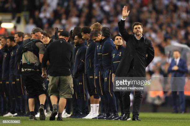 Mauricio Pochettino Manager of Tottenham Hotspur waves to the fans during the closing ceremony after the Premier League match between Tottenham...