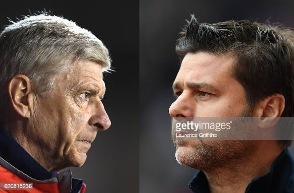 COMPOSITE OF TWO IMAGES Image numbers 609115656 and 602278616 In this composite image a comparision has been made between Arsene Wenger Manager of...
