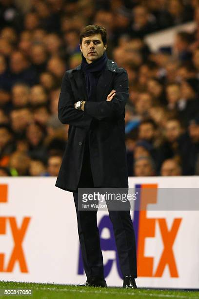 Mauricio Pochettino the manager of Spurs looks on during the UEFA Europa League Group J match between Tottenham Hotspur and AS Monaco at White Hart...