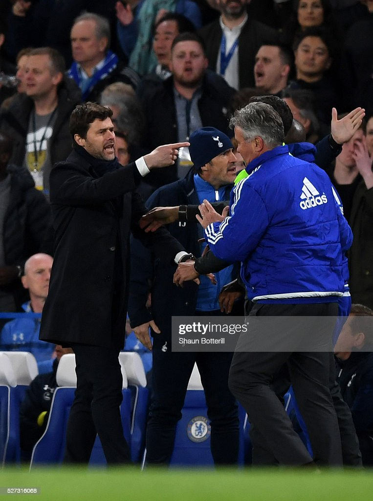 Mauricio Pochettino the manager of Tottenham Hotspur and Guus Hiddink the interim manager of Chelsea clash during the Barclays Premier League match between Chelsea and Tottenham Hotspur at Stamford Bridge on May 02, 2016 in London, England.jd