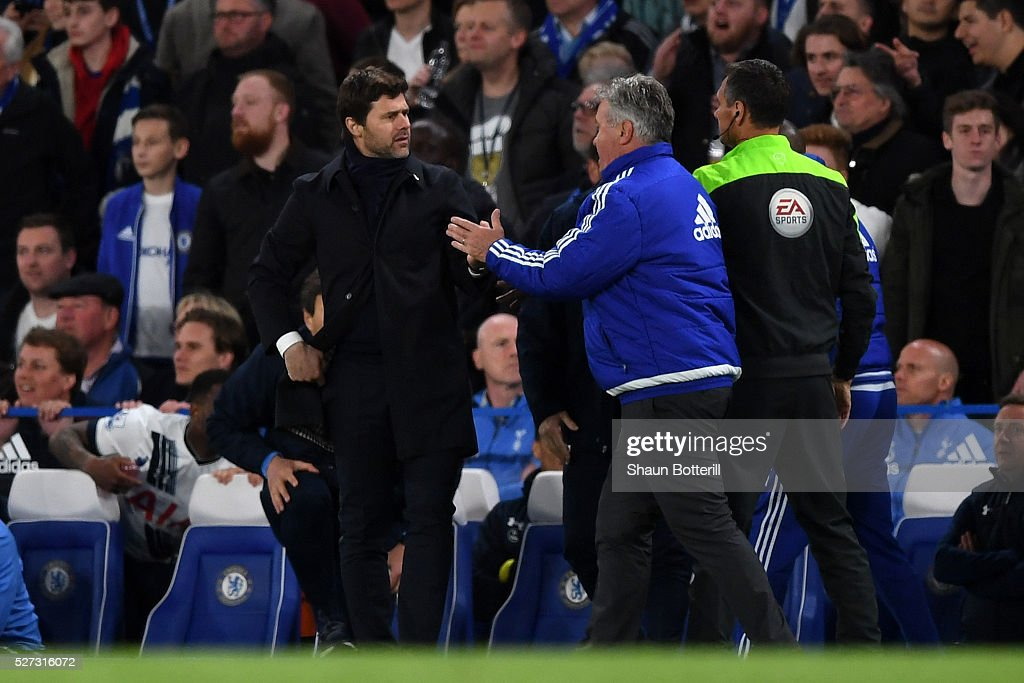 <a gi-track='captionPersonalityLinkClicked' href=/galleries/search?phrase=Mauricio+Pochettino&family=editorial&specificpeople=234444 ng-click='$event.stopPropagation()'>Mauricio Pochettino</a> the manager of Tottenham Hotspur and <a gi-track='captionPersonalityLinkClicked' href=/galleries/search?phrase=Guus+Hiddink&family=editorial&specificpeople=214125 ng-click='$event.stopPropagation()'>Guus Hiddink</a> the interim manager of Chelsea clash during the Barclays Premier League match between Chelsea and Tottenham Hotspur at Stamford Bridge on May 02, 2016 in London, England.jd
