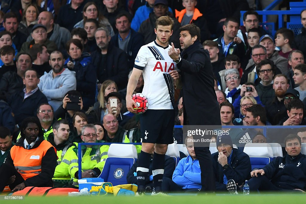 <a gi-track='captionPersonalityLinkClicked' href=/galleries/search?phrase=Mauricio+Pochettino&family=editorial&specificpeople=234444 ng-click='$event.stopPropagation()'>Mauricio Pochettino</a> the manager of Tottenham Hotspur speaks with <a gi-track='captionPersonalityLinkClicked' href=/galleries/search?phrase=Eric+Dier&family=editorial&specificpeople=9440610 ng-click='$event.stopPropagation()'>Eric Dier</a> of Tottenham Hotspur during the Barclays Premier League match between Chelsea and Tottenham Hotspur at Stamford Bridge on May 02, 2016 in London, England.jd