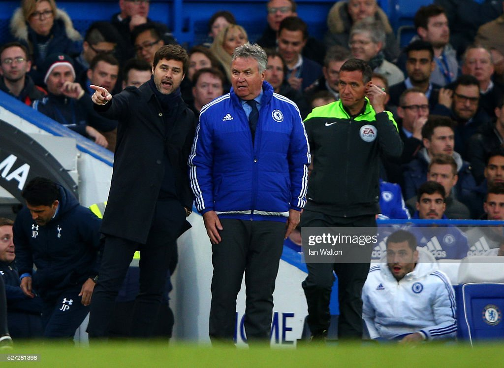 Mauricio Pochettino the manager of Tottenham Hotspur speaks with Guus Hiddink the interim manager of Chelsea during the Barclays Premier League match between Chelsea and Tottenham Hotspur at Stamford Bridge on May 02, 2016 in London, England.